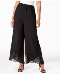 Alex Evenings - Wide-leg Chiffon Trousers - Lyst