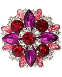 Charter Club Silver-tone Multicolour Crystal Cluster Pin, Created For Macy's