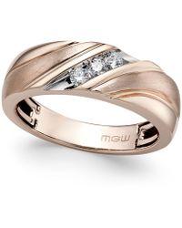 Macy's - Men's Diamond Diagonal Textured Band (1/5 Ct. T.w.) In 10k Rose Gold - Lyst