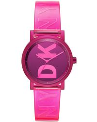 DKNY - Soho Pink Polyurethane Strap Watch 34mm - Lyst