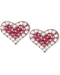Betsey Johnson Silver-tone Heart Pink Crystal Stud Earrings - Red