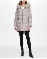 DKNY Faux-fur-trim Hooded Puffer Coat - Gray