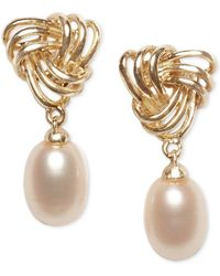 Macy's - Cultured Freshwater Pearl (7 X 9mm) Love Knot Drop Earrings In 18k Gold-plated Sterling Silver - Lyst