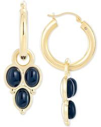 Signature Gold Onyx Drop Earrings In 14k Gold Over Resin, Created For Macy's - Metallic