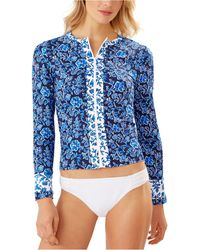 Tommy Bahama Woodblock Blossoms Long-sleeve Rash Guard - Blue
