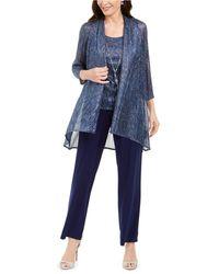 R & M Richards 3-pc. Metallic Jacket, Necklace Top & Pants Set - Blue