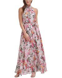 Eliza J Floral-print Halter-neck Maxi Dress - Pink