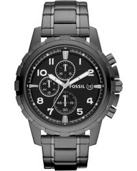 Fossil - Men's Chronograph Dean Smoke Ion Plated Stainless Steel Bracelet Watch 45mm Fs4721 - Lyst
