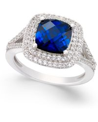 Macy's | Lab-created Sapphire (2-1/2 Ct. T.w.) And White Sapphire (1/2 Ct. T.w.) Ring In Sterling Silver | Lyst