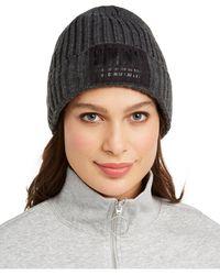 DKNY Fleece-lined Knit Beanie - Gray