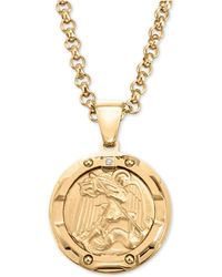 """Macy's - Diamond Accent St. Michael Medallion 24"""" Pendant Necklace In Yellow Ion-plated Stainless Steel - Lyst"""