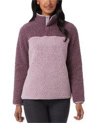 32 Degrees Sherpa Mock-neck Sweatshirt - Purple
