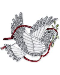 Charter Club - Holiday Lane Silver-tone Crystal & Epoxy Peace Dove Pin, Created For Macy's - Lyst