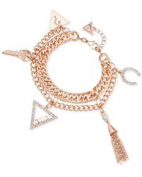 Guess - Multi-strand Pavé Charm Bracelet - Lyst