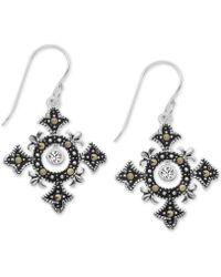 Macy's - Marcasite Celtic Cross Drop Earrings In Fine Silver-plate - Lyst