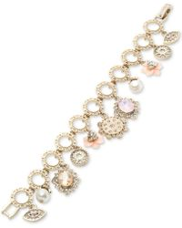 Marchesa - Gold-tone Crystal Charm Link Bracelet - Lyst
