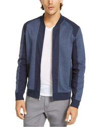 INC International Concepts Pieced Colorblocked Textured Knit Bomber Jacket, Created For Macy's - Blue