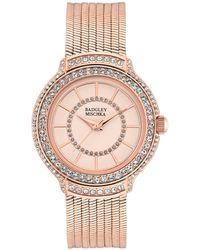 Badgley Mischka Ladies Rose Gold-tone Liquid Chain Bracelet With Swarovski Crystal Accents Watch 34mm - Metallic