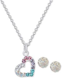 Macy's   Colored And Clear Crystal Heart Necklace And Stud Earrings Set In Sterling Silver   Lyst
