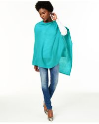 Charter Club Asymmetrical Cashmere Poncho, Created For Macy's - Blue