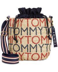 Tommy Hilfiger Camden Printed Logo Straw Crossbody - Natural