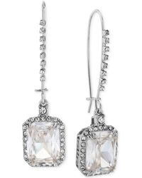 Betsey Johnson - Silver-tone Crystal And Pavé Square Drop Earrings - Lyst