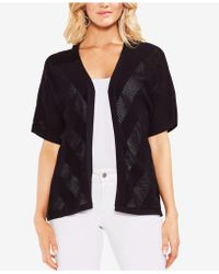 Vince Camuto - Cotton Pointelle Cardigan - Lyst