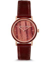 Original Grain Women's Avalon 34 Mm Vino Oak Barrel Wood Quartz Analog Watch - Multicolor