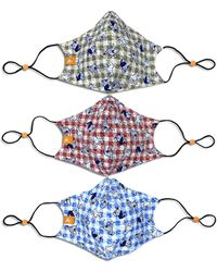 Con.struct X Best Friends Unisex Gingham Dog Curved Mask, 3 Pack - Red