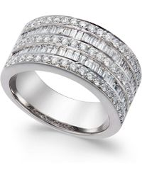 Macy's | Five-row Diamond Ring (1-1/4 Ct. T.w.) In 14k White Gold | Lyst