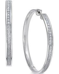 Macy's - Diamond Hoop Earrings (1/3 Ct. T.w.) In Sterling Silver - Lyst
