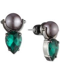 Carolee - Hematite-tone Crystal & Imitation Pearl Door Knocker Drop Earrings - Lyst