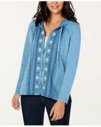 Style & Co. - Cotton Embroidered Zip Hoodie, Created For Macy's - Lyst