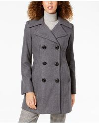Anne Klein - Petite Double-breasted Wool Peacoat - Lyst