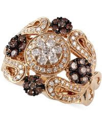Effy Collection - Espresso By Effy Brown (1/2 Ct. T.w.) And White Diamond (1/2 Ct. T.w.) Ornate Ring In 14k Gold - Lyst