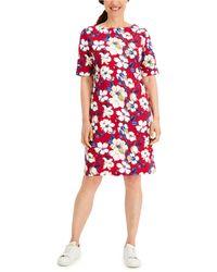 Karen Scott Tea Time Floral-print Dress, Created For Macy's - Red