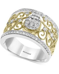 Effy Collection - Effy® Diamond Two-tone Filigree Ring (5/8 Ct. T.w.) In 14k Gold & White Gold - Lyst