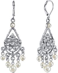 2028 - Silver-tone Crystal And Simulated Pearl Chandelier Drop Earrings - Lyst