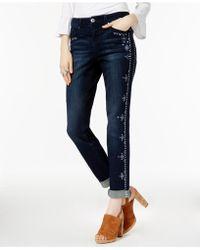 INC International Concepts - Unicorn Wash Curvy Embroidered Boyfriend Jeans - Lyst
