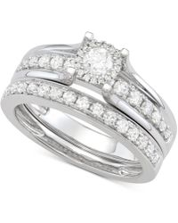 Macy's - Diamond Halo Bridal Set (1 Ct. T.w.) In 14k White Gold - Lyst