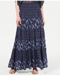 Style & Co. Mixed-print Tiered Maxi Skirt, Created For Macy's - Blue