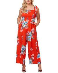 Jessica Simpson Plus Size Romie Ruched Jumpsuit - Red