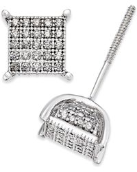 Macy's Diamond Square Cluster Stud Earrings (1/4 Ct. T.w.) In Sterling Silver - Metallic