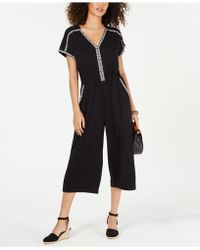 Style & Co. Embroidered V-neck Jumpsuit, Created For Macy's - Black