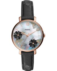 Fossil - Jacqueline Black Leather Strap Watch 36mm - Lyst