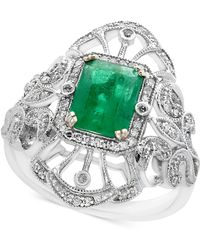 Effy Collection - Emerald (1-3/8 Ct. T.w.) And Diamond (1/5 Ct. T.w.) Ring In 14k White Gold - Lyst