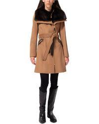 Via Spiga Asymmetrical Faux-fur-collar Coat, Created For Macy's - Multicolor