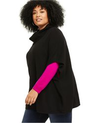 Charter Club Plus Size Cashmere Cowlneck Poncho, Created For Macy's - Black