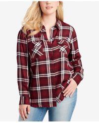 622caeccfc2d9 Jessica Simpson - Trendy Plus Size Plaid Button-front Shirt - Lyst