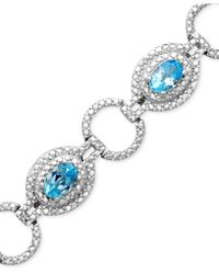Macy's - Sterling Silver Bracelet, Blue Topaz (4-3/4 Ct. T.w.) And Diamond Accent - Lyst
